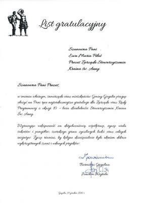 List gratulacyjny od Gminy Gogolin