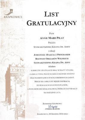 List gratulacyjny od Gminy Krapkowice
