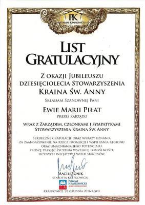 List gratulacyjny od Starostwa Powiatowego w Krapkowicach