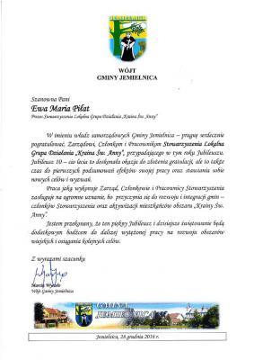 List Gratulacyjny od Gminy Jemielnica