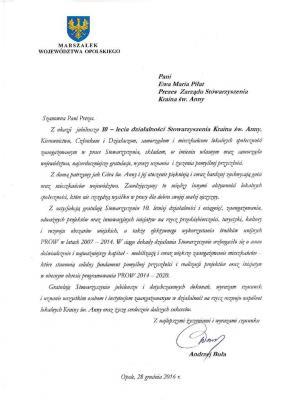List gratulacyjny od Marszałka Województwa Opolskiego - Andrzej Buła