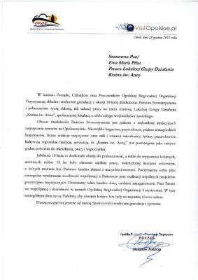 List Gratulacyjny od Opolskiej Regionalnej Organizacji Turystycznej