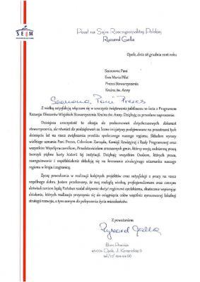 List gratulacyjny od Posła na Sejm Rzeczpospolitej Polskiej - Ryszard Galla